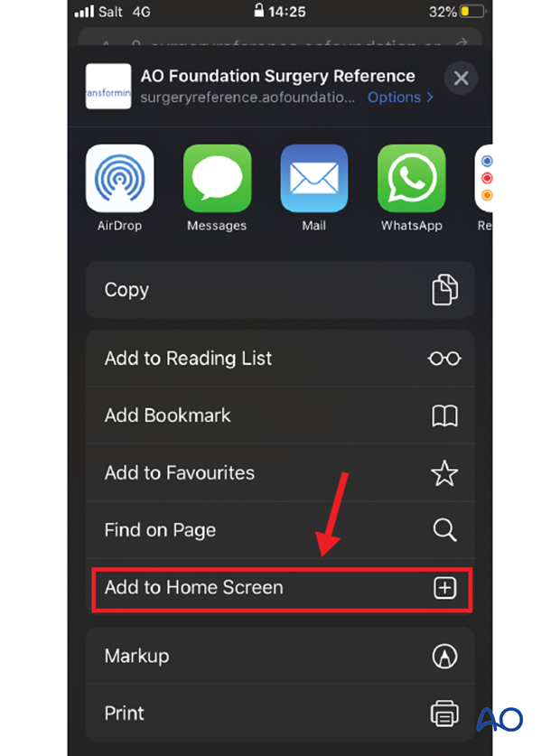 Add to home screen in Safari