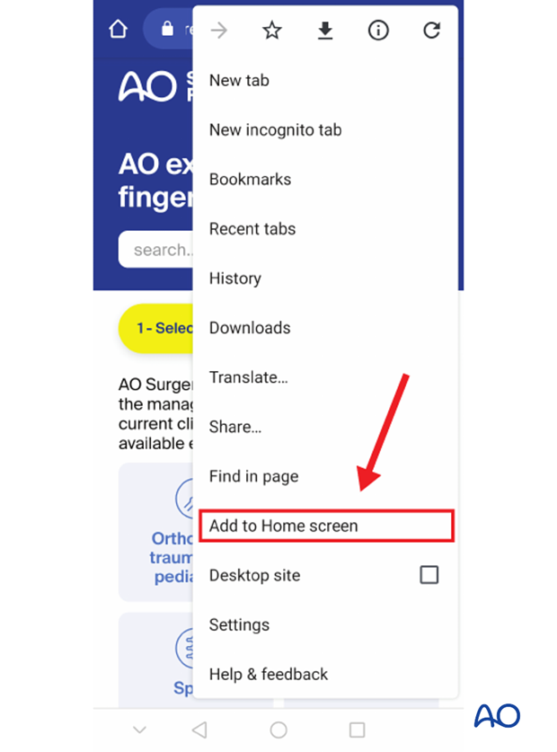 Add to home screen in Google Chrome