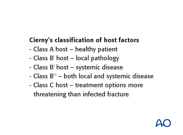 Cierny has also suggested a classification scheme according to host resistance.