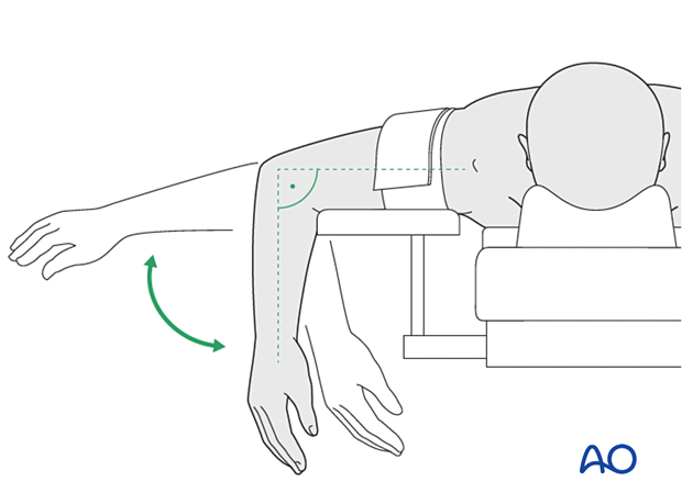 The forearm should be in a position so that it can be flexed beyond 100°.