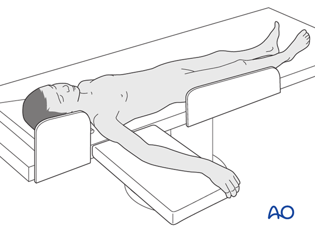 Supine position with an arm table